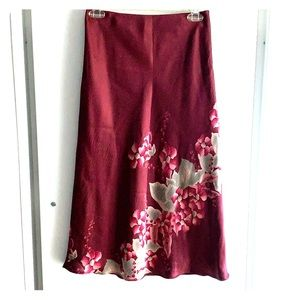 Banana Republic floral silk skirt